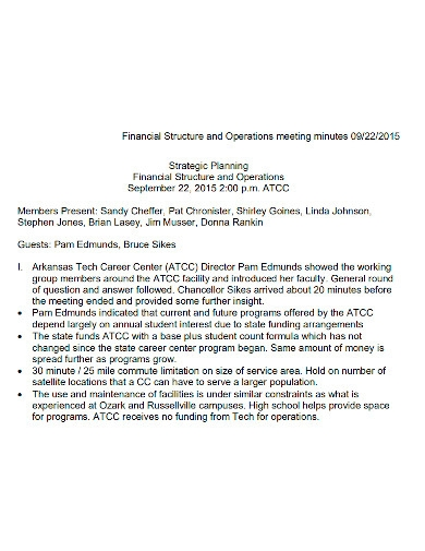 financial operations meeting minutes