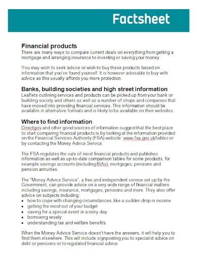financial product fact sheet
