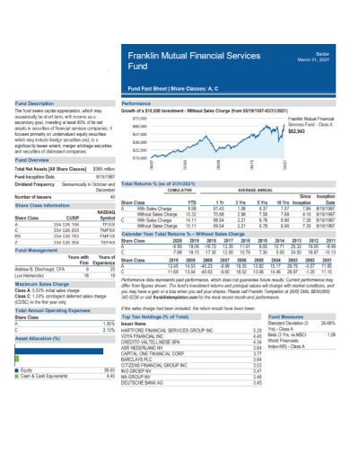 financial services fund fact sheet