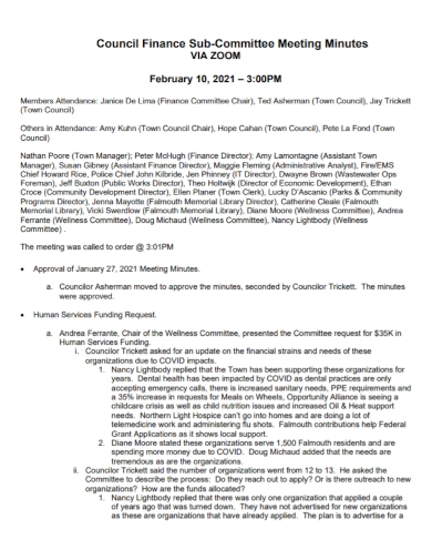 financial sub committee meeting minutes