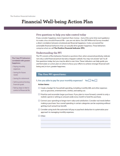 financial well being action plan
