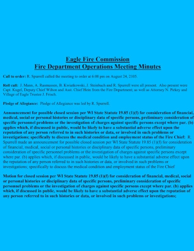 fire department operations meeting minutes