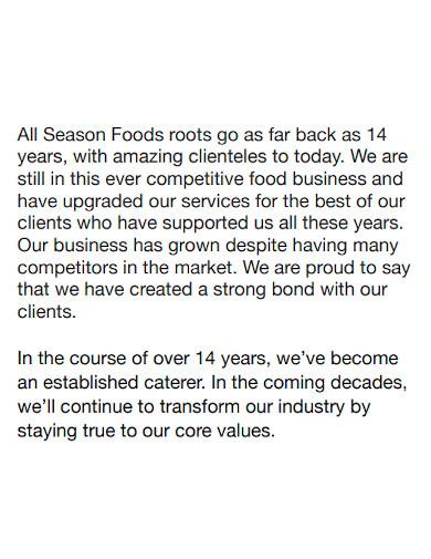 food company profile sample