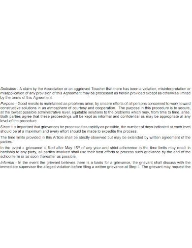 foraml teacher employment agreements
