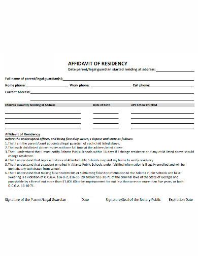 formal affidavit of residence