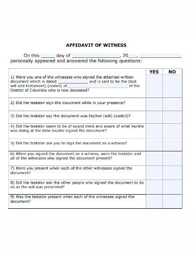 formal affidavit of witness