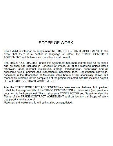 formal contract scope of work
