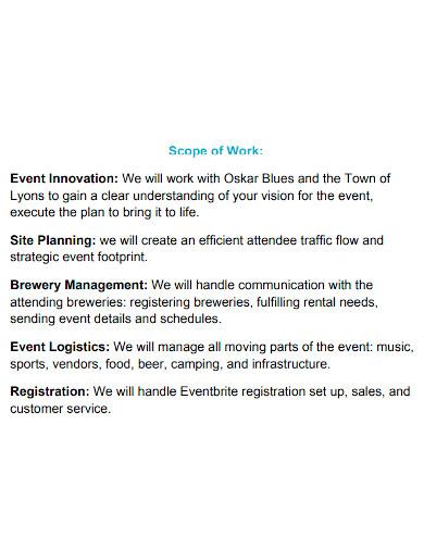 formal event management scope of work