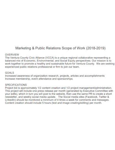 formal marketing scope of work