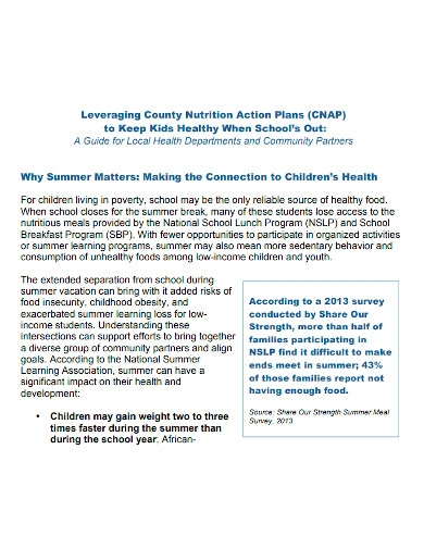 formal nutrition action plan