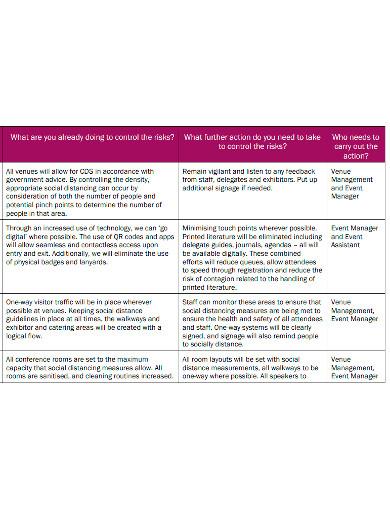 formal risk action plan