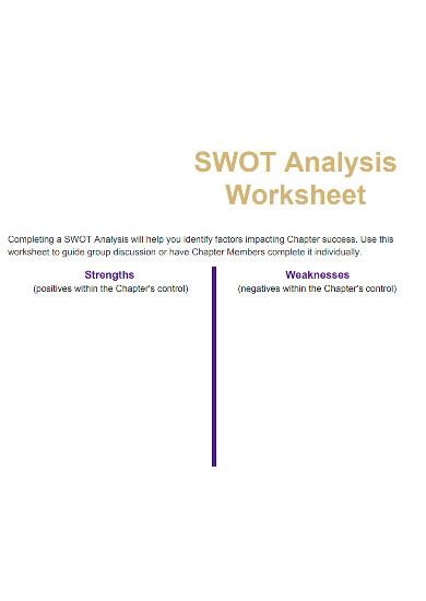 formal swot analysis worksheet