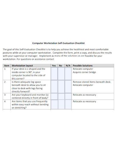 formal self evaluation checklist