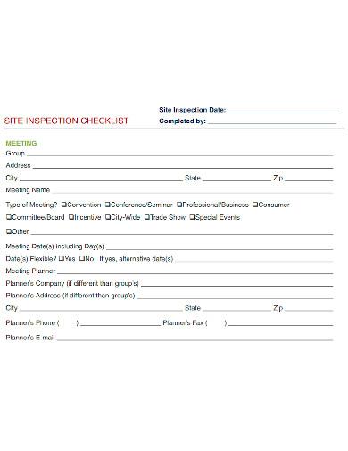 formal site inspection checklist