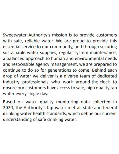 formal water quality report