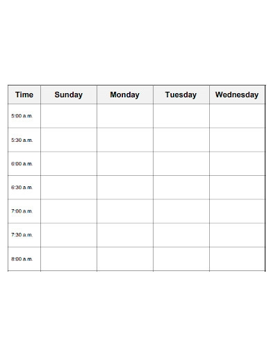 formal weekly study schedule