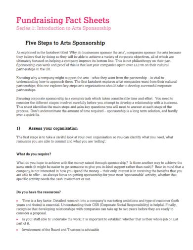 fundraising sponsorship fact sheet