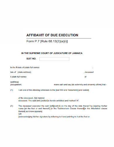 general affidavit of execution