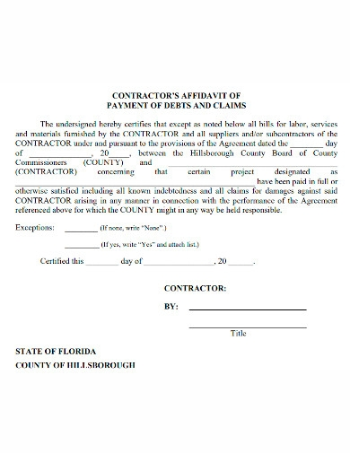 general affidavit of payment