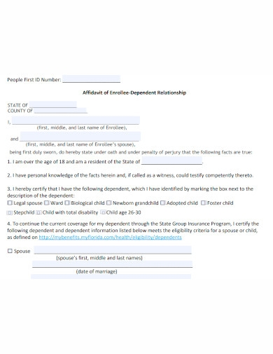 general affidavit of relationship
