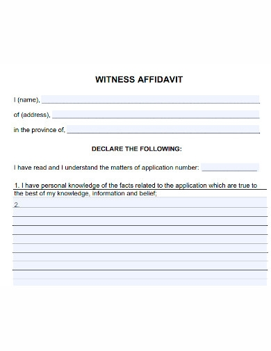 general affidavit of witness
