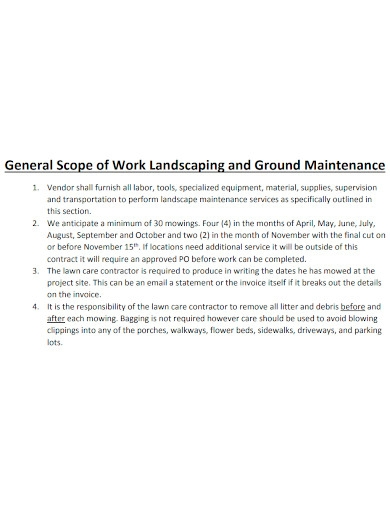 general contract scope of work