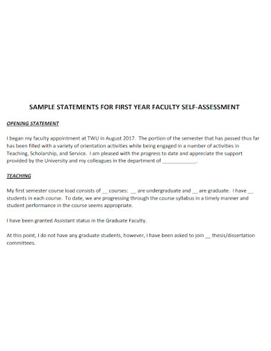 general faculty self assessment