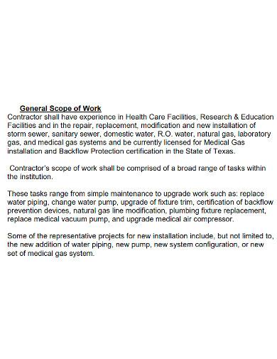general plumbing scope of work