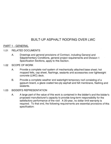 general roofing scope of work