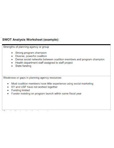 general swot analysis worksheet