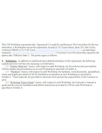 general workshop services agreement