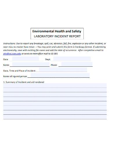 general laboratory incident report