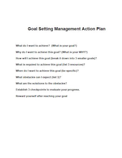 goal setting management action plan