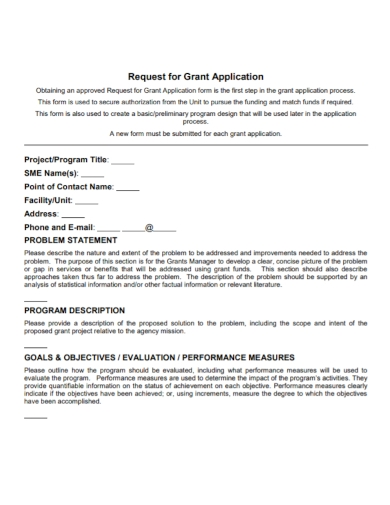 grant application problem statement