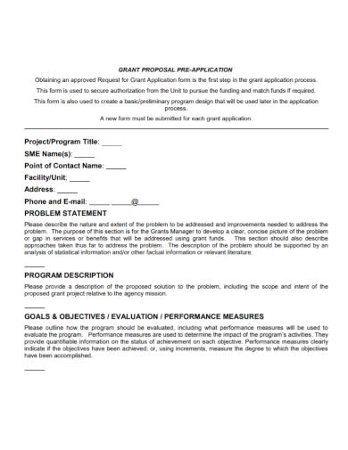 grant proposal application problem statement