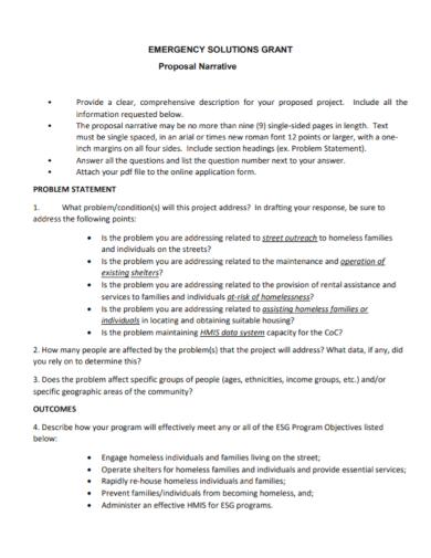 grant proposal narrative problem statement