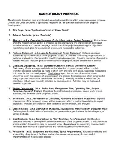 grant proposal problem statement