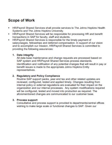 hr payroll scope of work