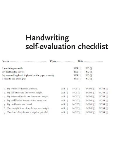 hand writing self evaluation checklist