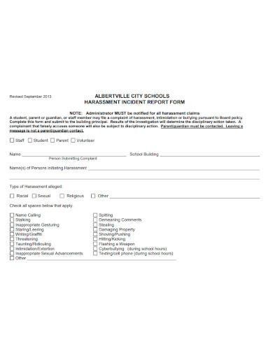 harassment incident report format