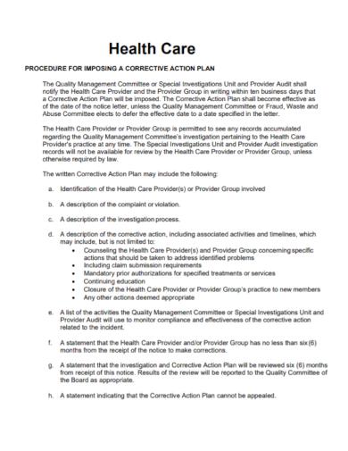 health care corrective action plan