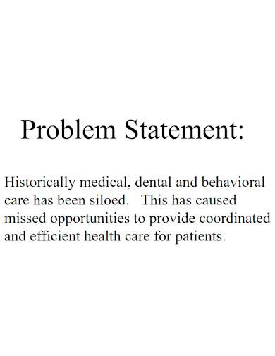 health care problem statement