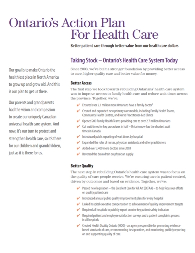 health care system action plan