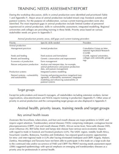 health training needs assessment report
