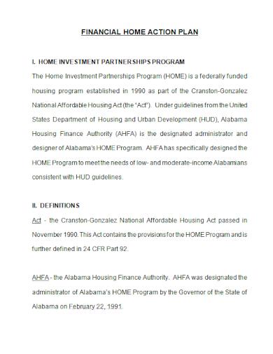 home financial action plan