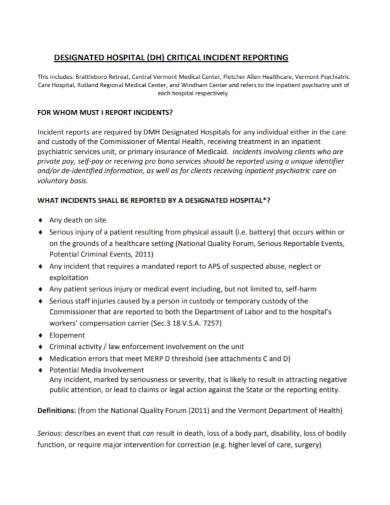 hospital critical incident report