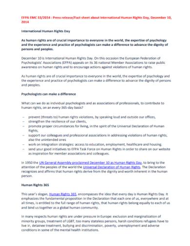 human rights press release fact sheet