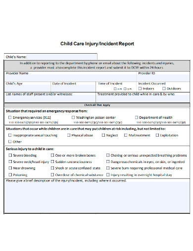 injury incident report format