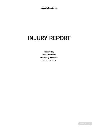injury incident report sample