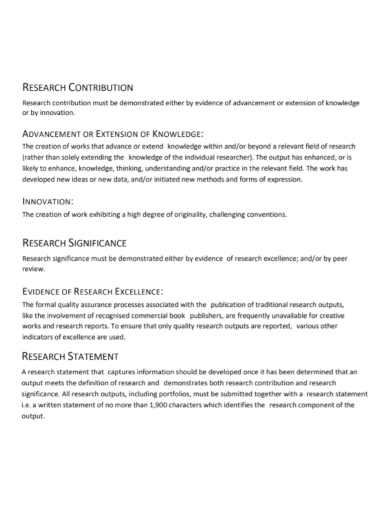 innovation research contribution statement
